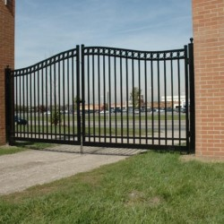 Aluminum Fence Commercial Double Gate Arched Valrico Florida